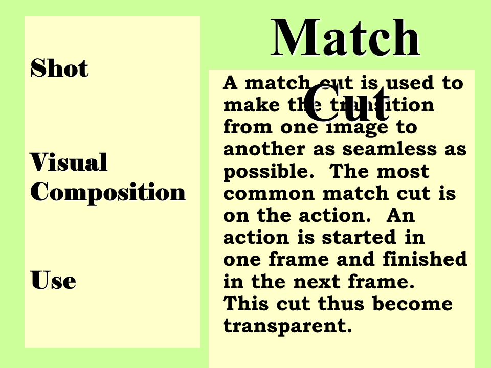 Match Cut Shot Visual Composition Use