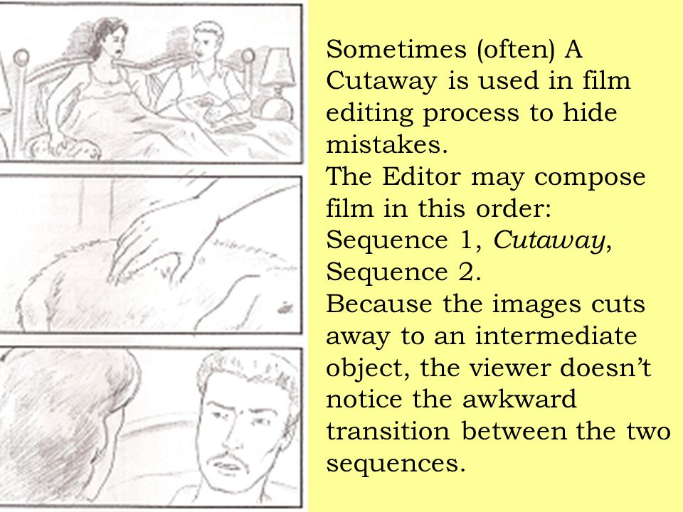 Sometimes (often) A Cutaway is used in film editing process to hide mistakes.