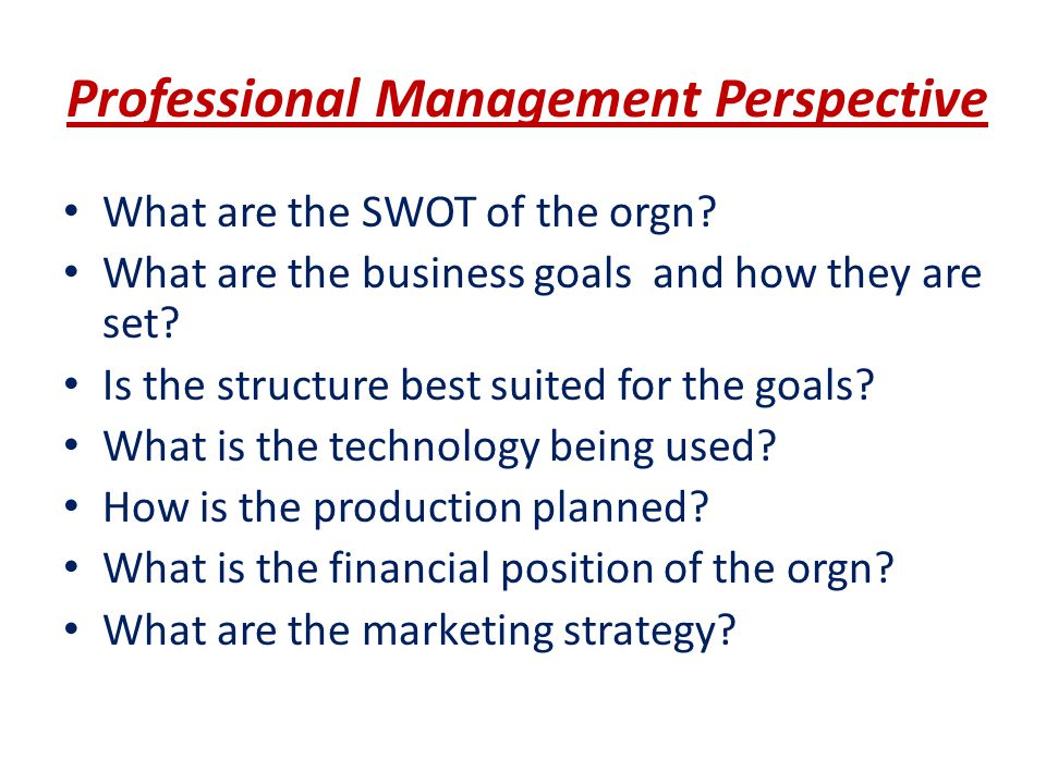 Professional Management Perspective