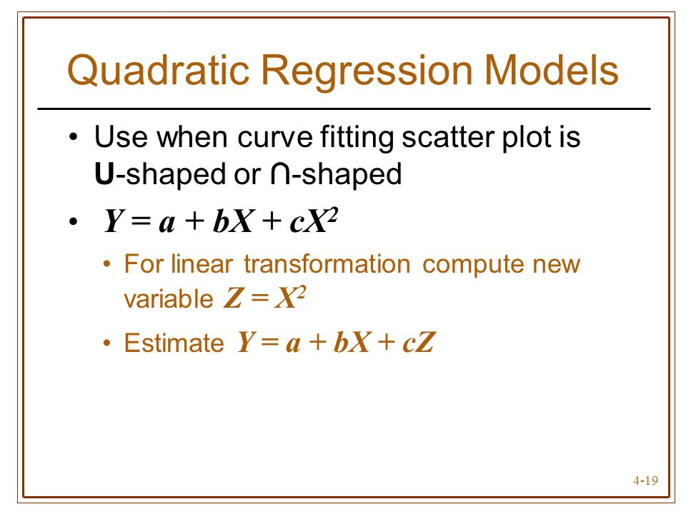 Quadratic Regression Models