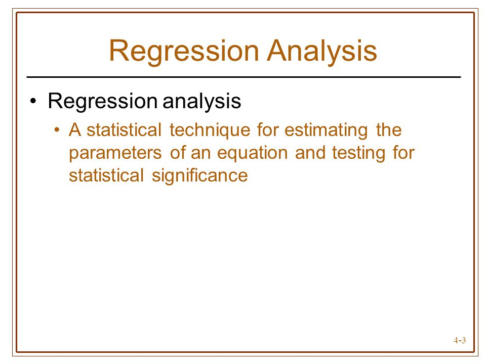 Regression Analysis Regression analysis