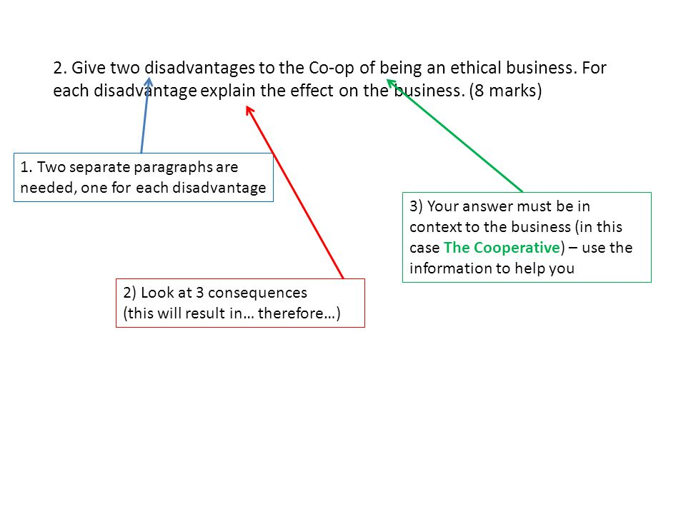 2. Give two disadvantages to the Co-op of being an ethical business