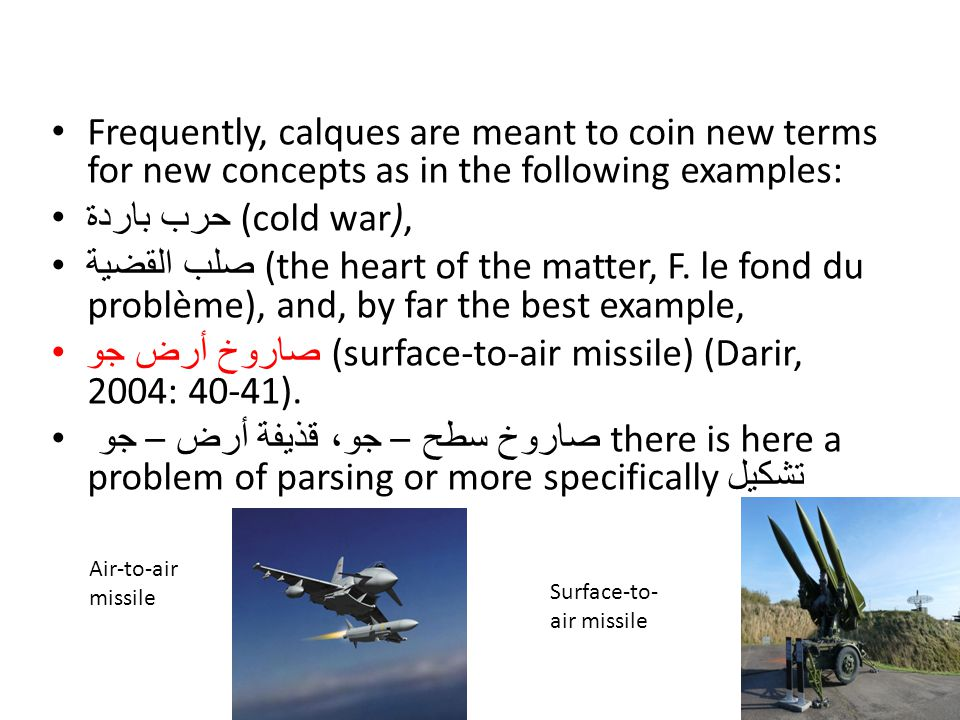 صاروخ أرض جو (surface-to-air missile) (Darir, 2004: 40-41).