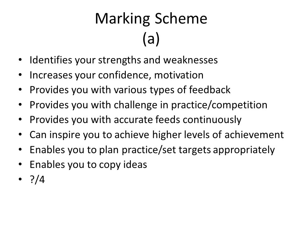 Marking Scheme (a) Identifies your strengths and weaknesses