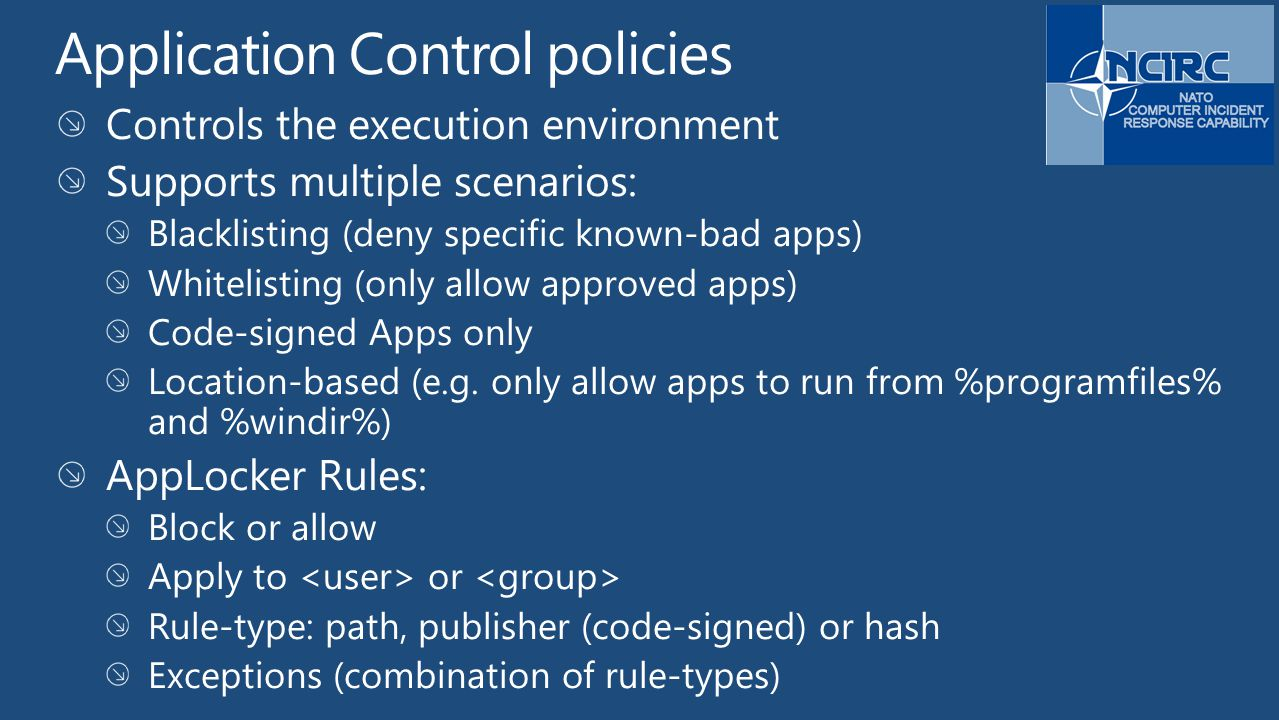 Application Control policies