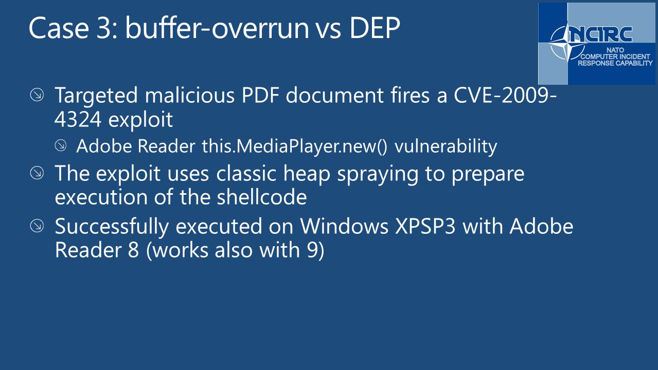 Case 3: buffer-overrun vs DEP