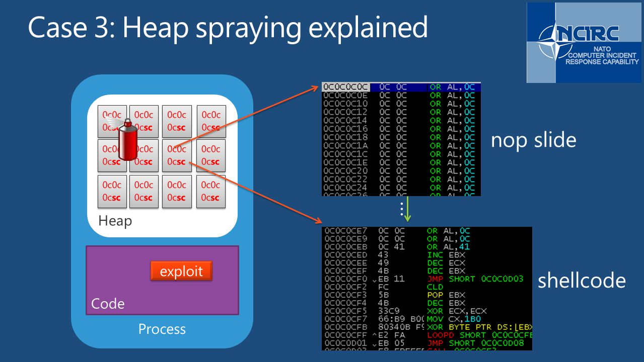 Case 3: Heap spraying explained