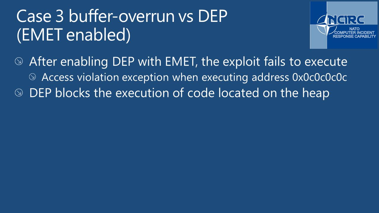 Case 3 buffer-overrun vs DEP (EMET enabled)