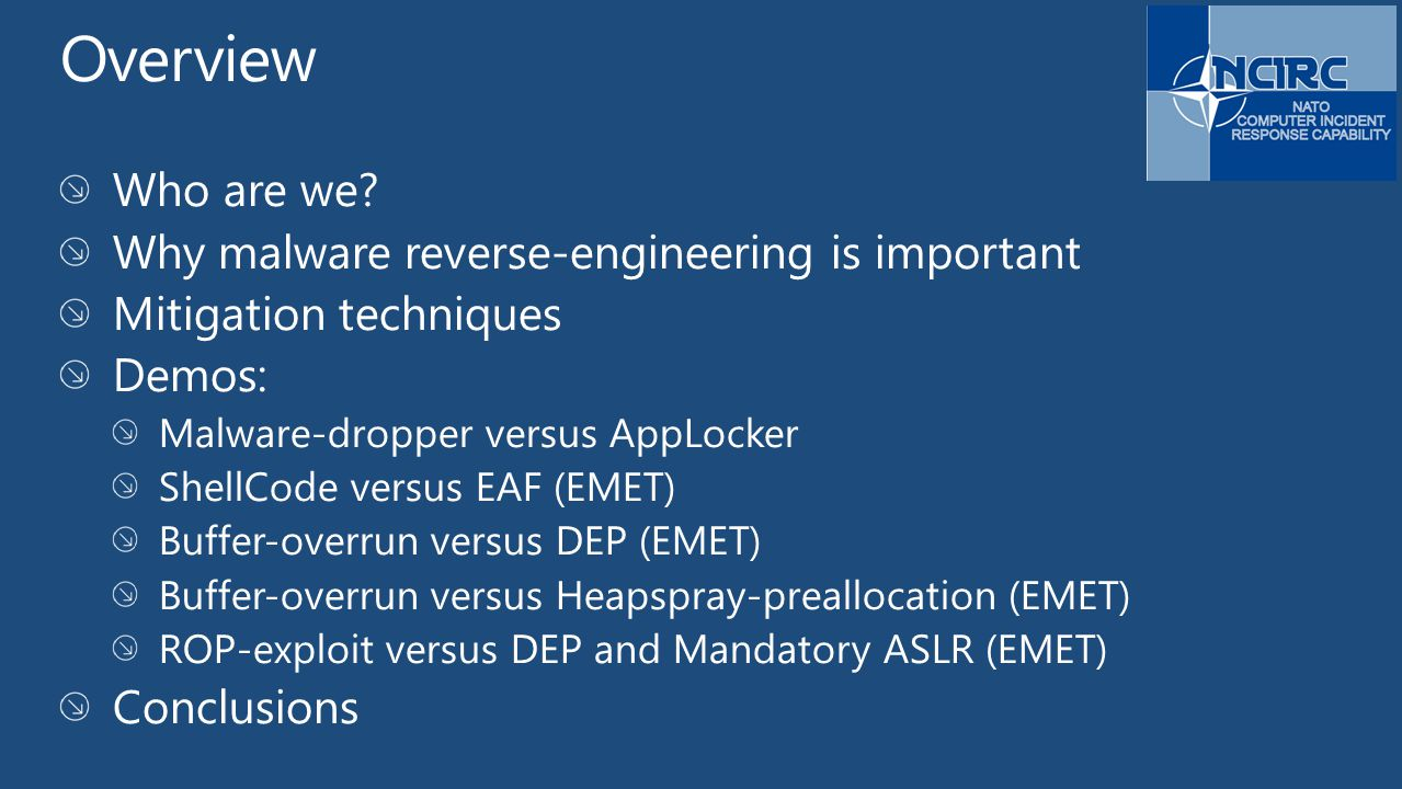 Overview Who are we Why malware reverse-engineering is important