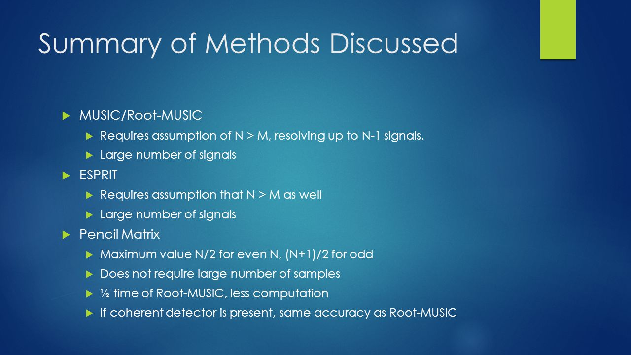 Summary of Methods Discussed