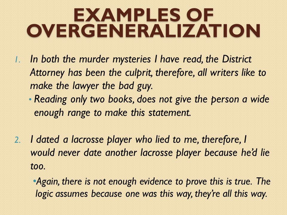 Examples of Overgeneralization