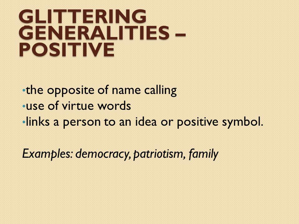 Glittering - generalities – Positive