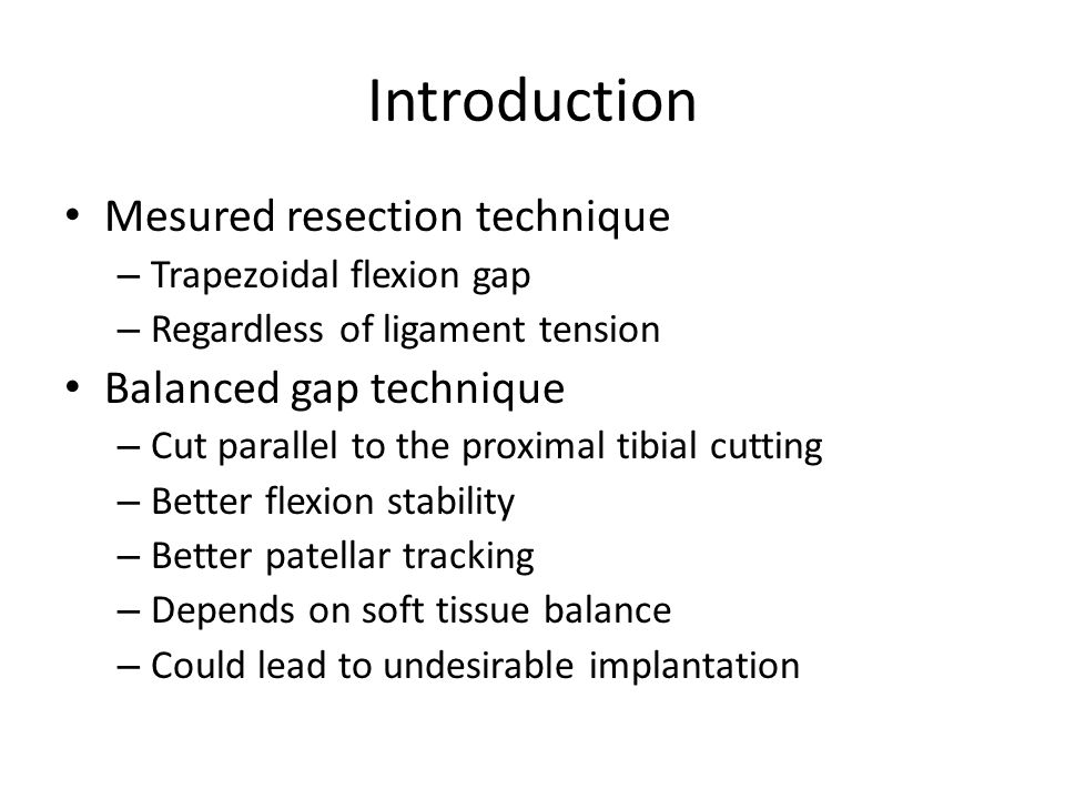 Introduction Mesured resection technique Balanced gap technique