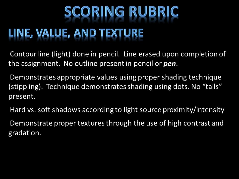 Scoring Rubric Line, Value, and Texture
