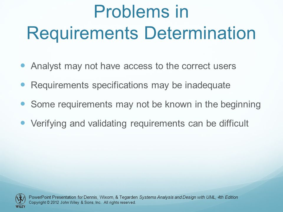Problems in Requirements Determination