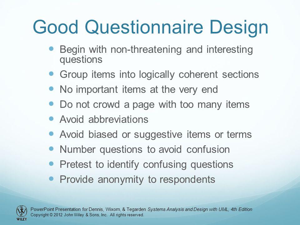 Good Questionnaire Design