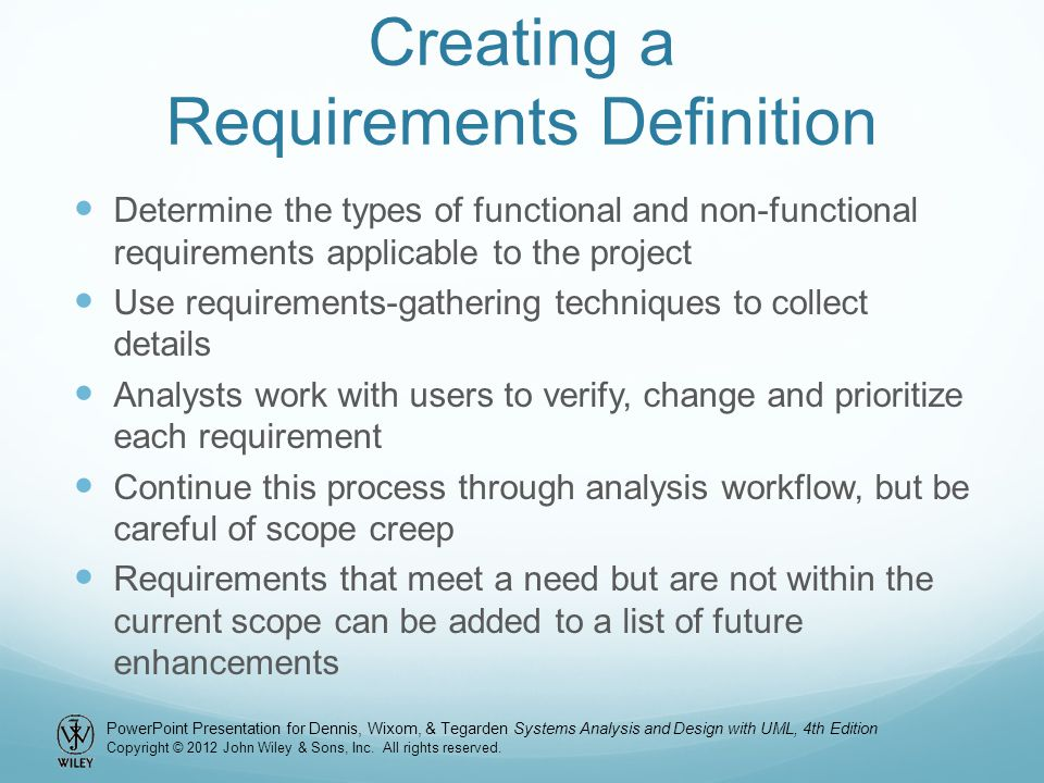 Creating a Requirements Definition