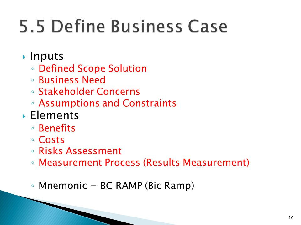 5.5 Define Business Case Inputs Elements Defined Scope Solution