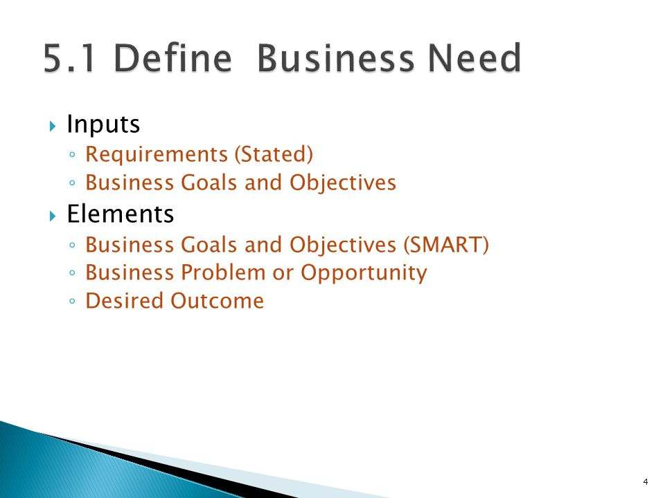 5.1 Define Business Need Inputs Elements Requirements (Stated)
