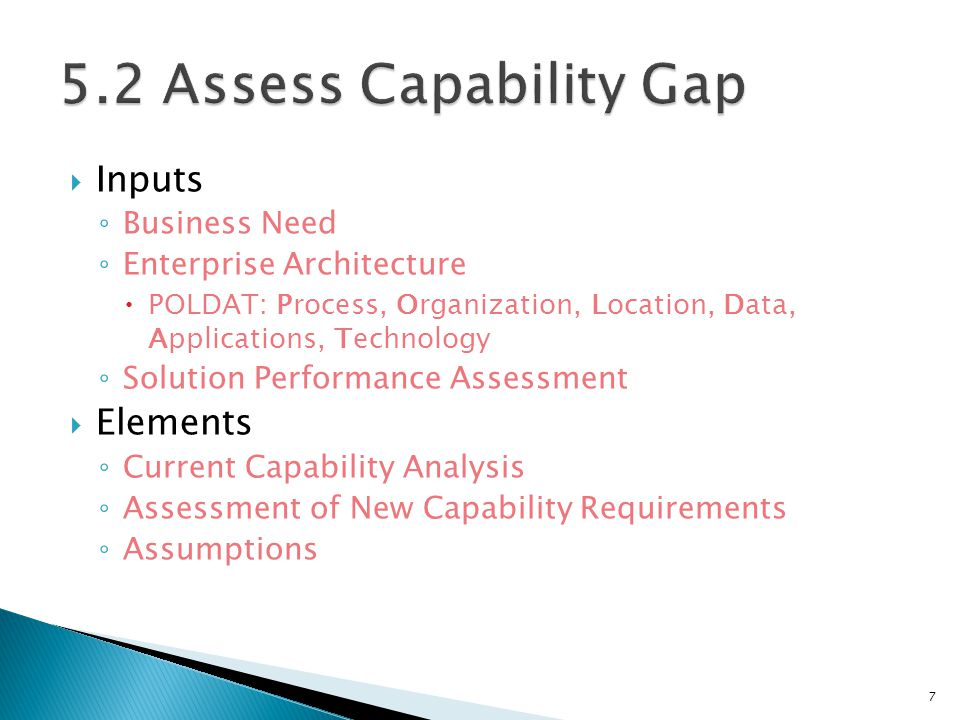 5.2 Assess Capability Gap Inputs Elements Business Need