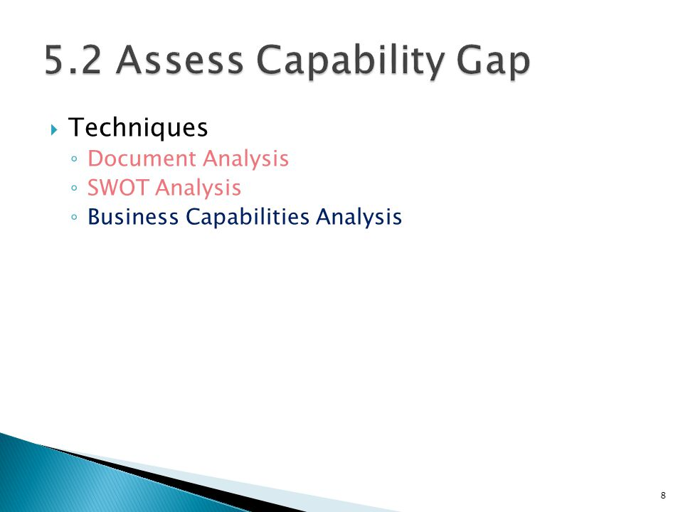 5.2 Assess Capability Gap Techniques Document Analysis SWOT Analysis