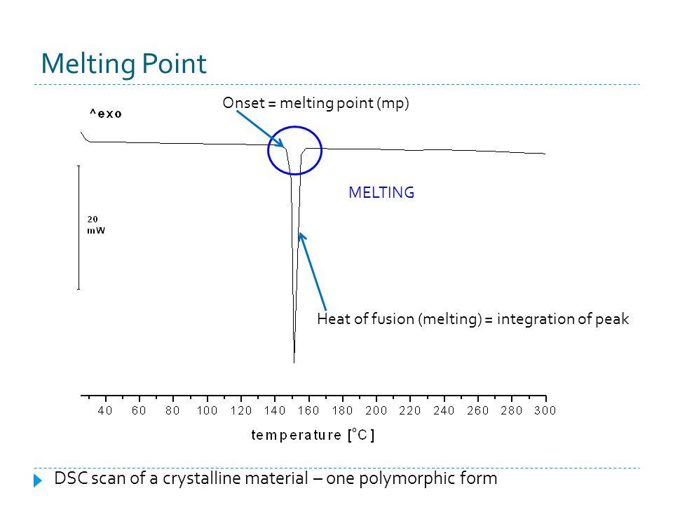 Melting Point Onset = melting point (mp) MELTING. Heat of fusion (melting) = integration of peak.