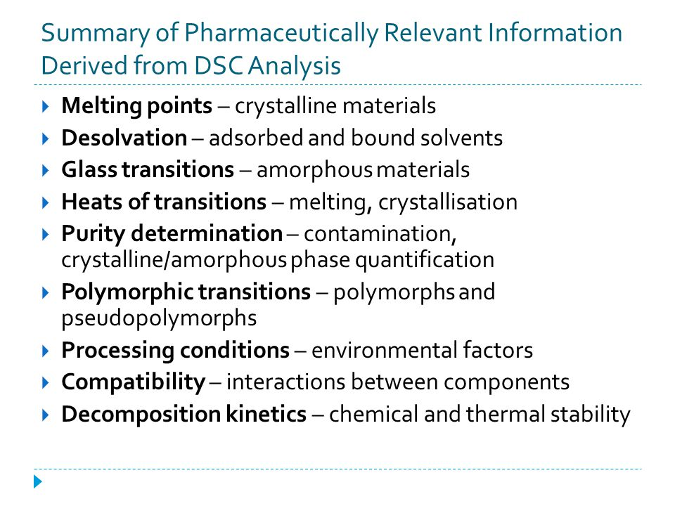 Summary of Pharmaceutically Relevant Information Derived from DSC Analysis