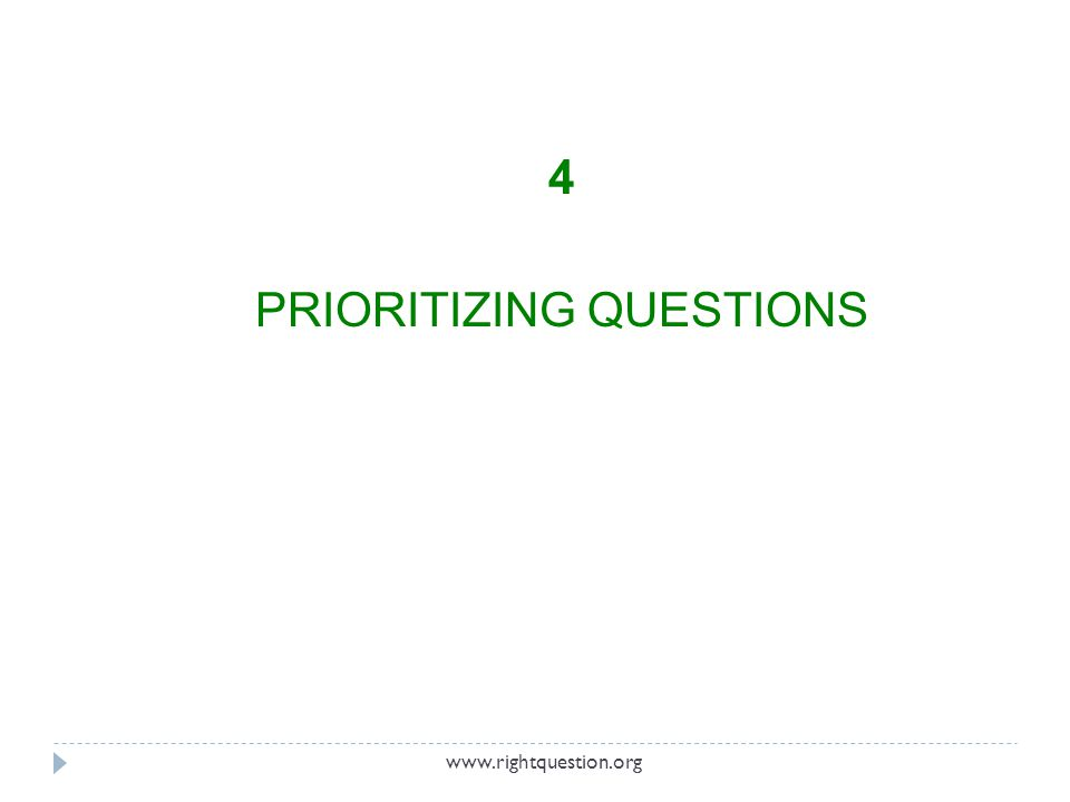 4 PRIORITIZING QUESTIONS