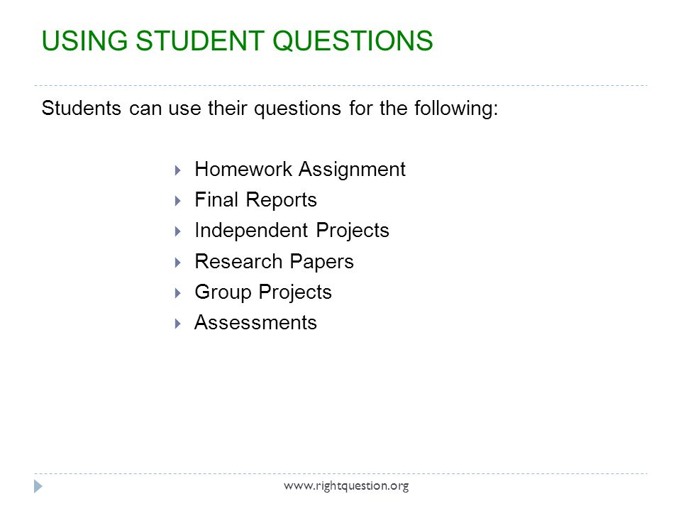 USING STUDENT QUESTIONS