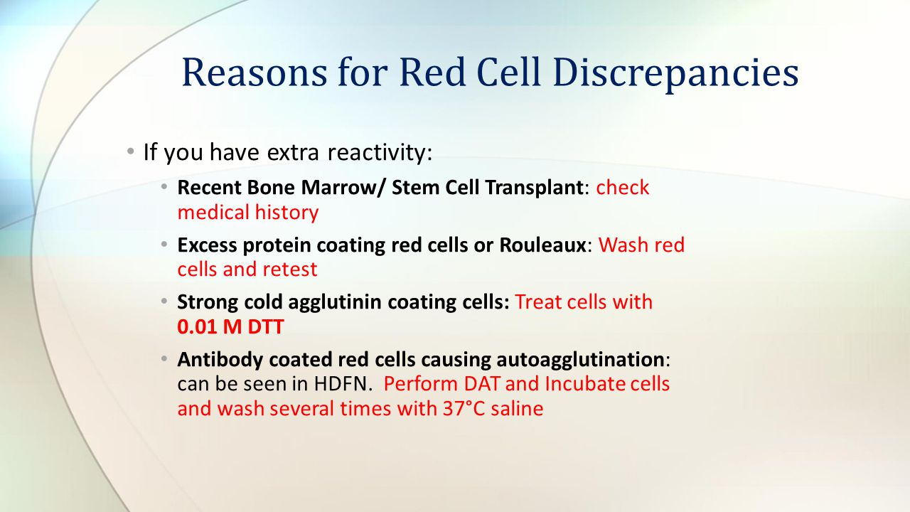 Reasons for Red Cell Discrepancies