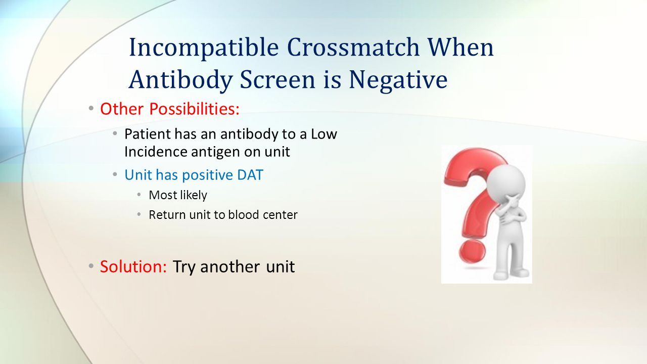 Incompatible Crossmatch When Antibody Screen is Negative