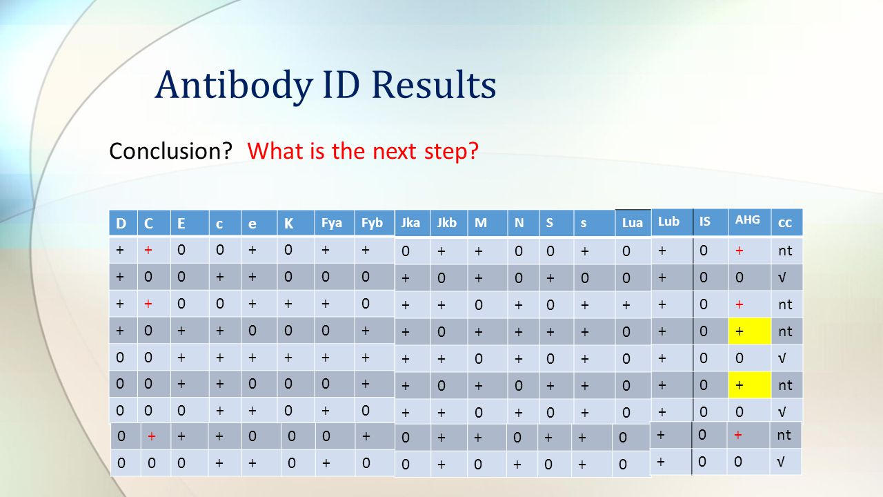 Antibody ID Results Conclusion What is the next step D C E c e K + +