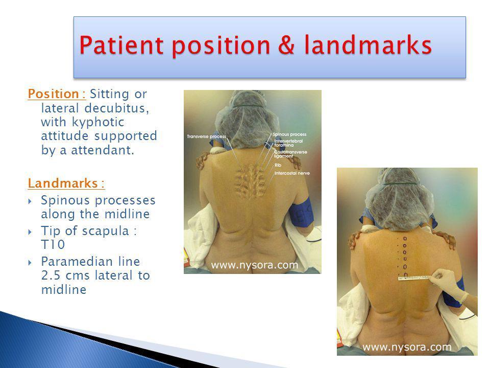 Patient position & landmarks