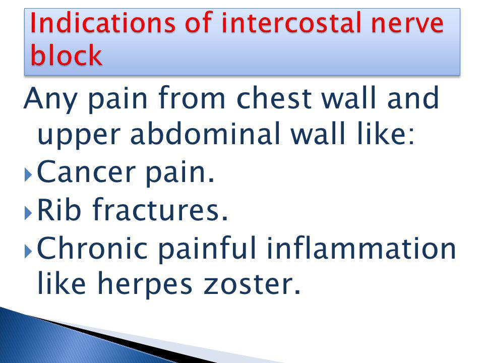 Indications of intercostal nerve block