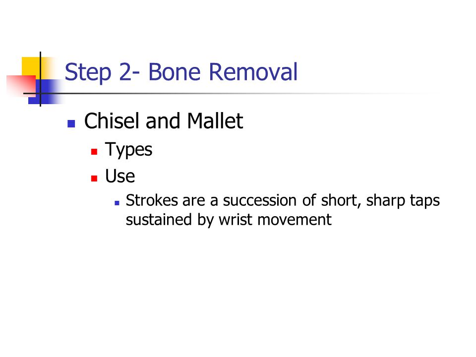 Step 2- Bone Removal Chisel and Mallet Types Use