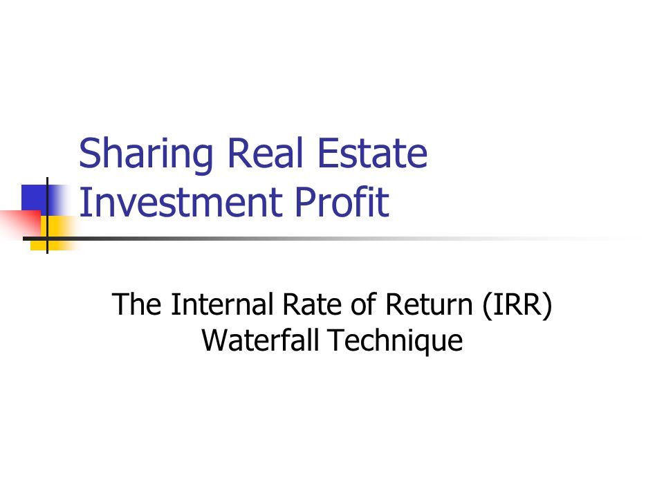 Sharing Real Estate Investment Profit
