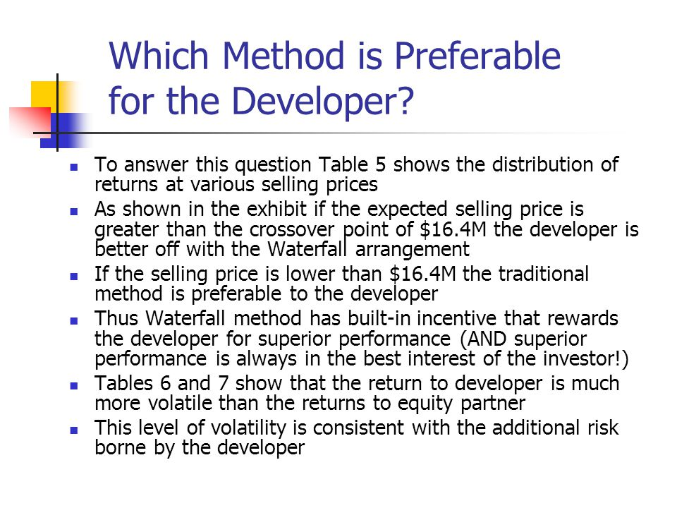 Which Method is Preferable for the Developer