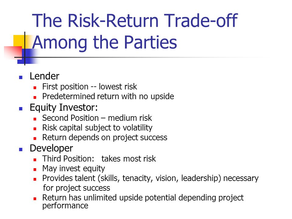 The Risk-Return Trade-off Among the Parties