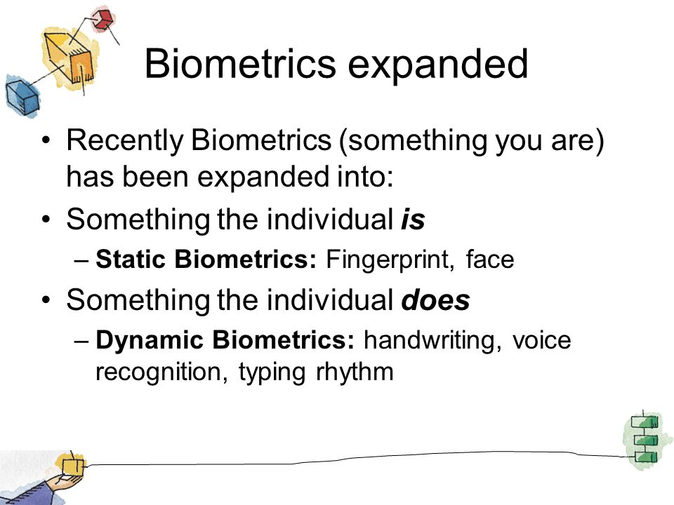 Biometrics expanded Recently Biometrics (something you are) has been expanded into: Something the individual is.