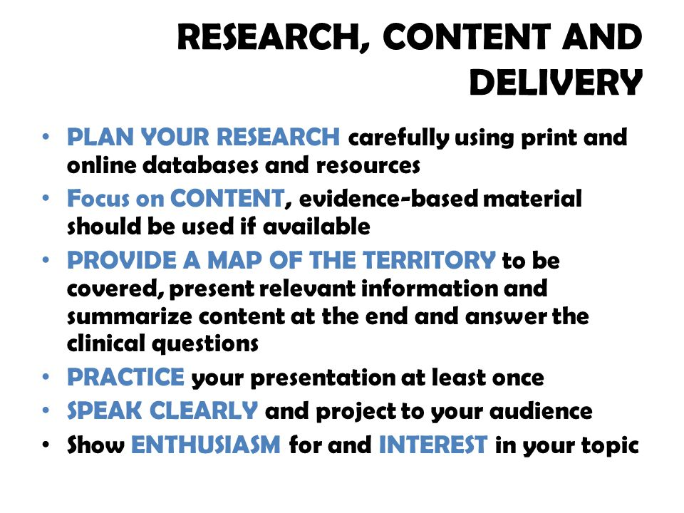 RESEARCH, CONTENT AND DELIVERY