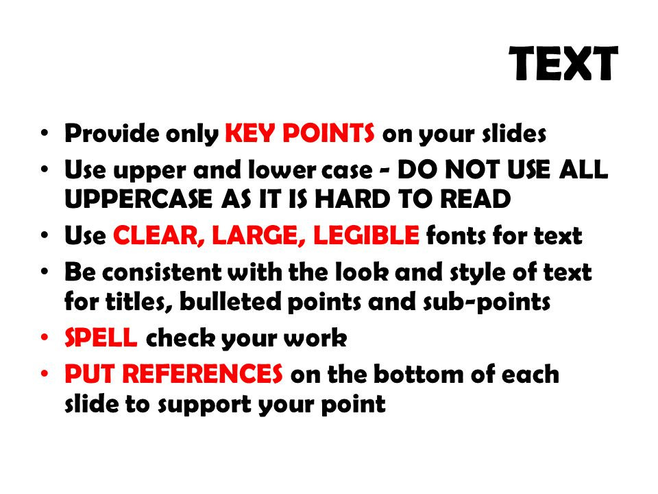 TEXT Provide only KEY POINTS on your slides