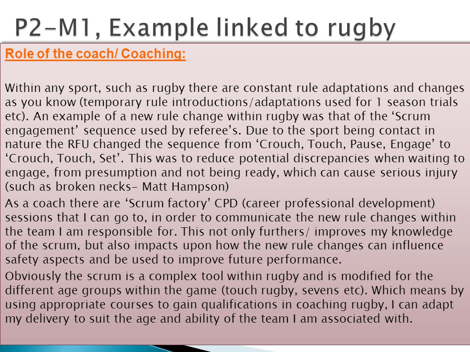 P2-M1, Example linked to rugby