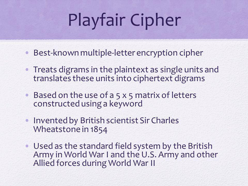 Playfair Cipher Best-known multiple-letter encryption cipher