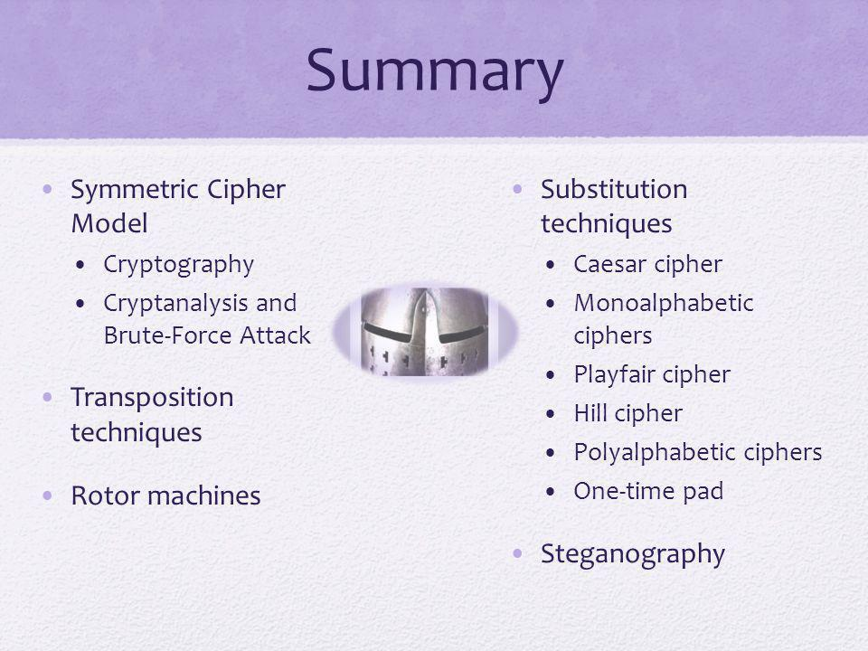 Summary Symmetric Cipher Model Transposition techniques Rotor machines