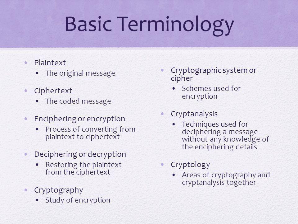 Basic Terminology Plaintext Cryptographic system or cipher Ciphertext