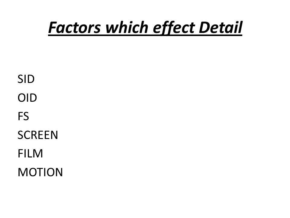 Factors which effect Detail