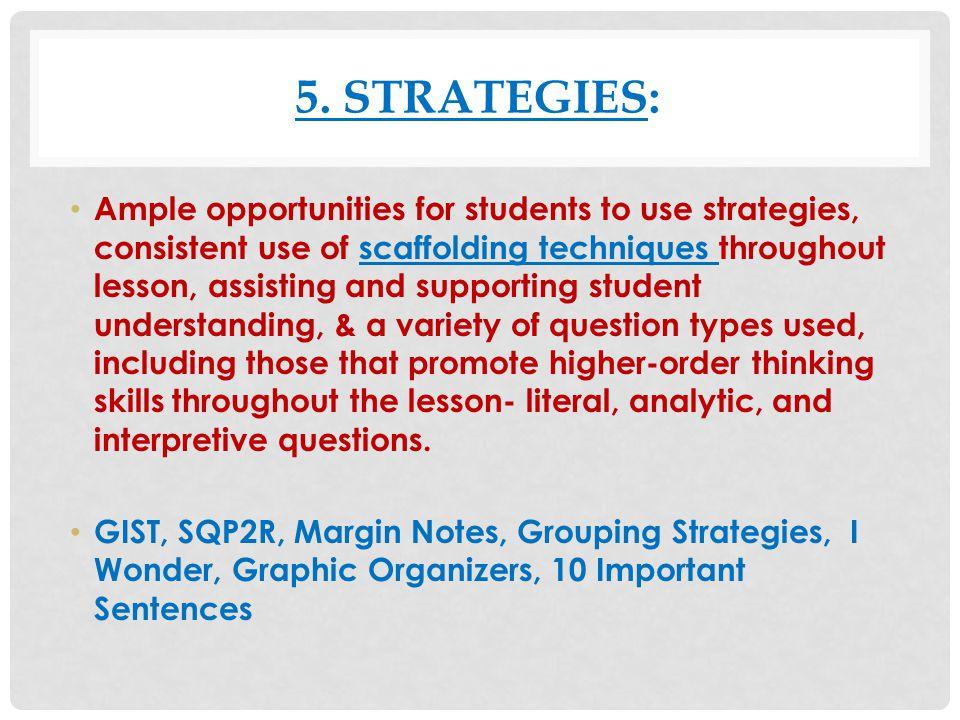 5. Strategies: