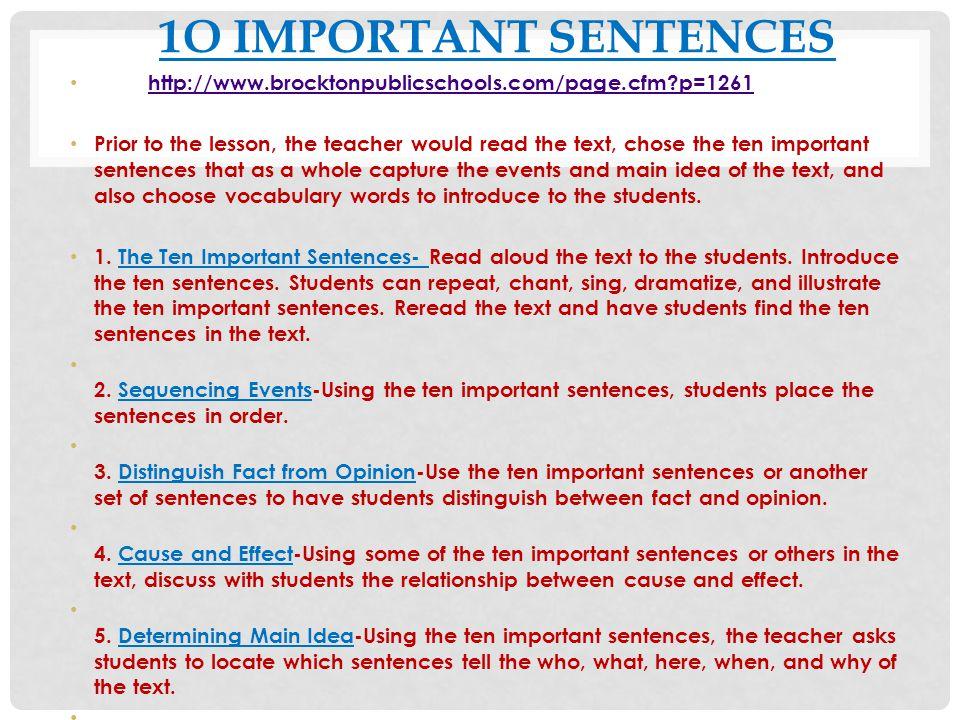 1o IMPORTANT SENTENCES http://www.brocktonpublicschools.com/page.cfm p=1261.