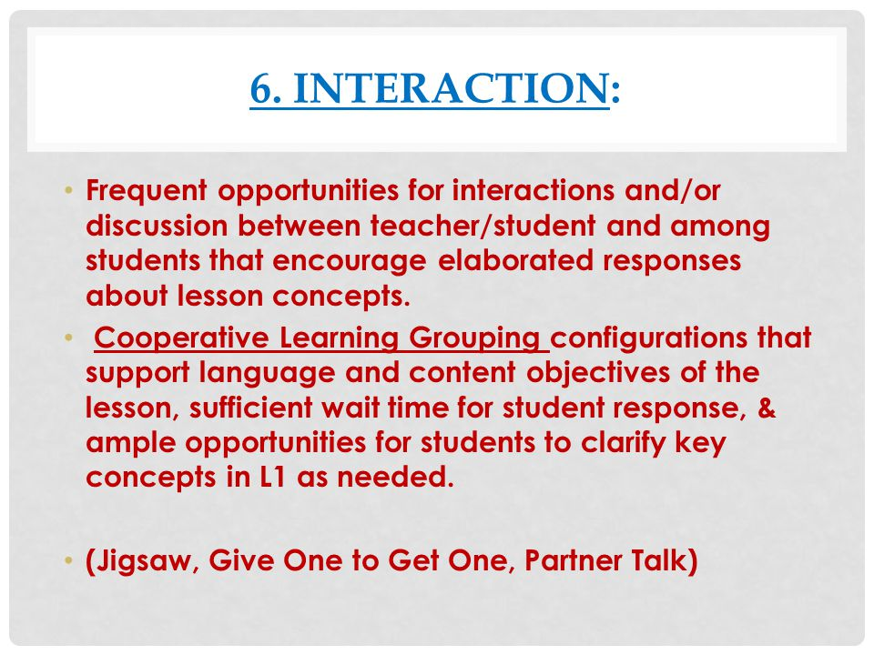 6. Interaction: