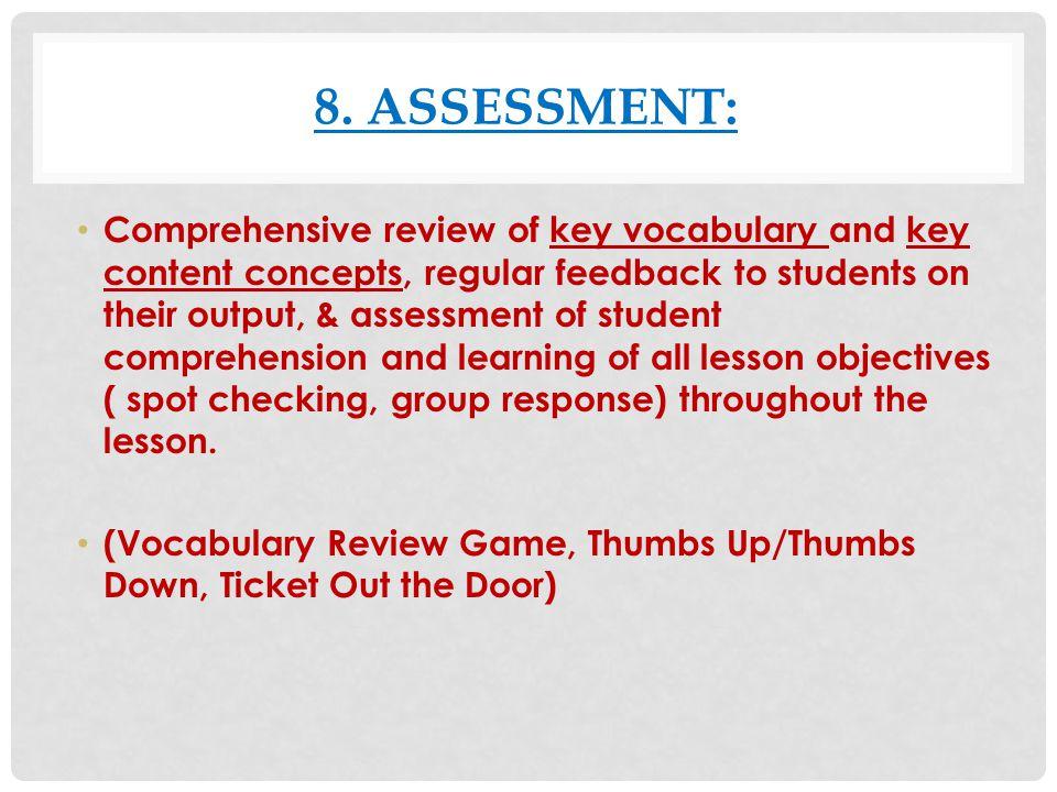8. Assessment: